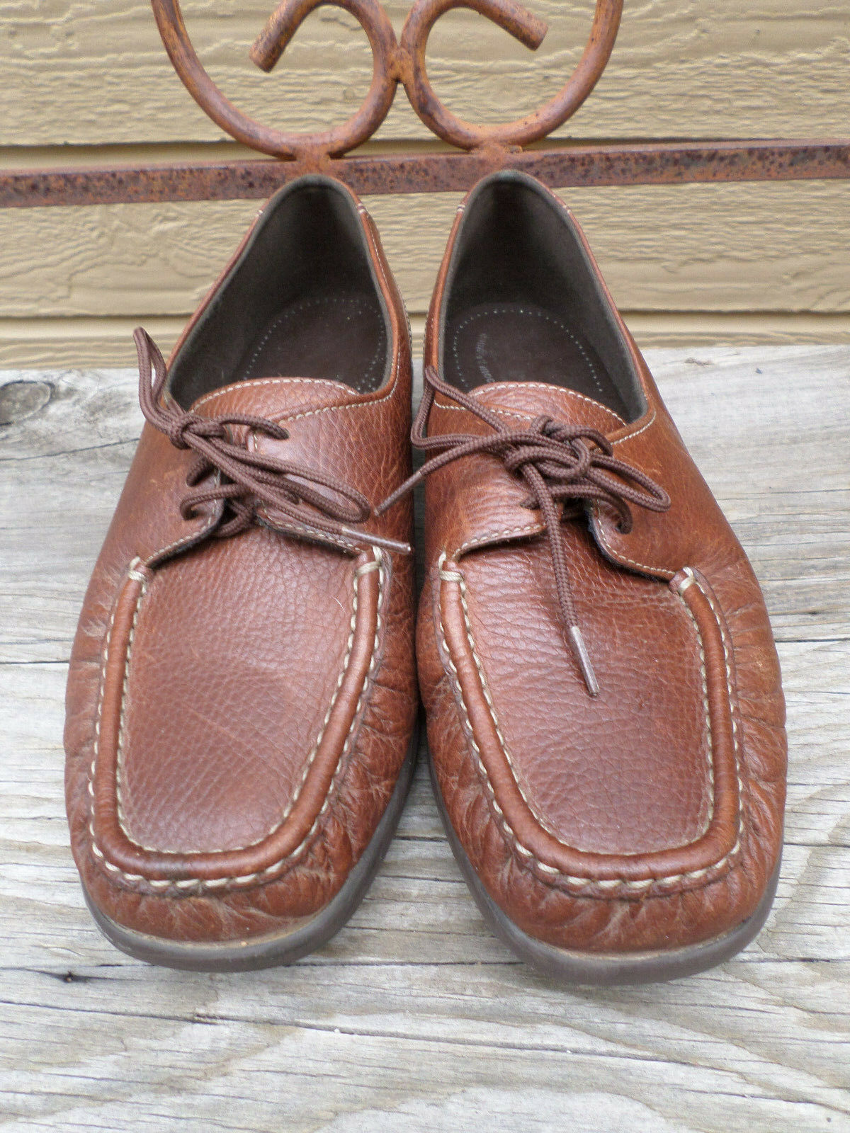 SAS Brown Leather Comfort Moccasin Women's 7.5 W  Made in USA