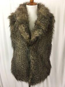 a230c84fe88 Jack BB Dakota Womens Vest Brown Faux Fur Acrylic Lined Hook Closure ...