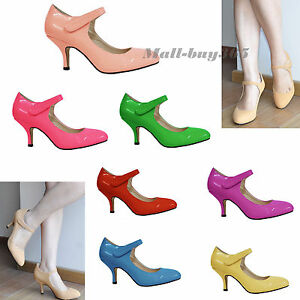 Women-Lady-Composite-Patent-leather-Paste-Lace-Kitten-Heels-Round-Toe-Shoes-AU