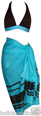 Ladies womans summer Holiday bikini set Inc. free sarong size 10-20 Blue brown