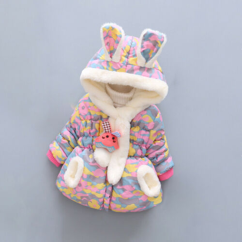 Kids Toddle Girl Coat Polyester Camouflage Winter Warm Hoodie Outerwear Jacket