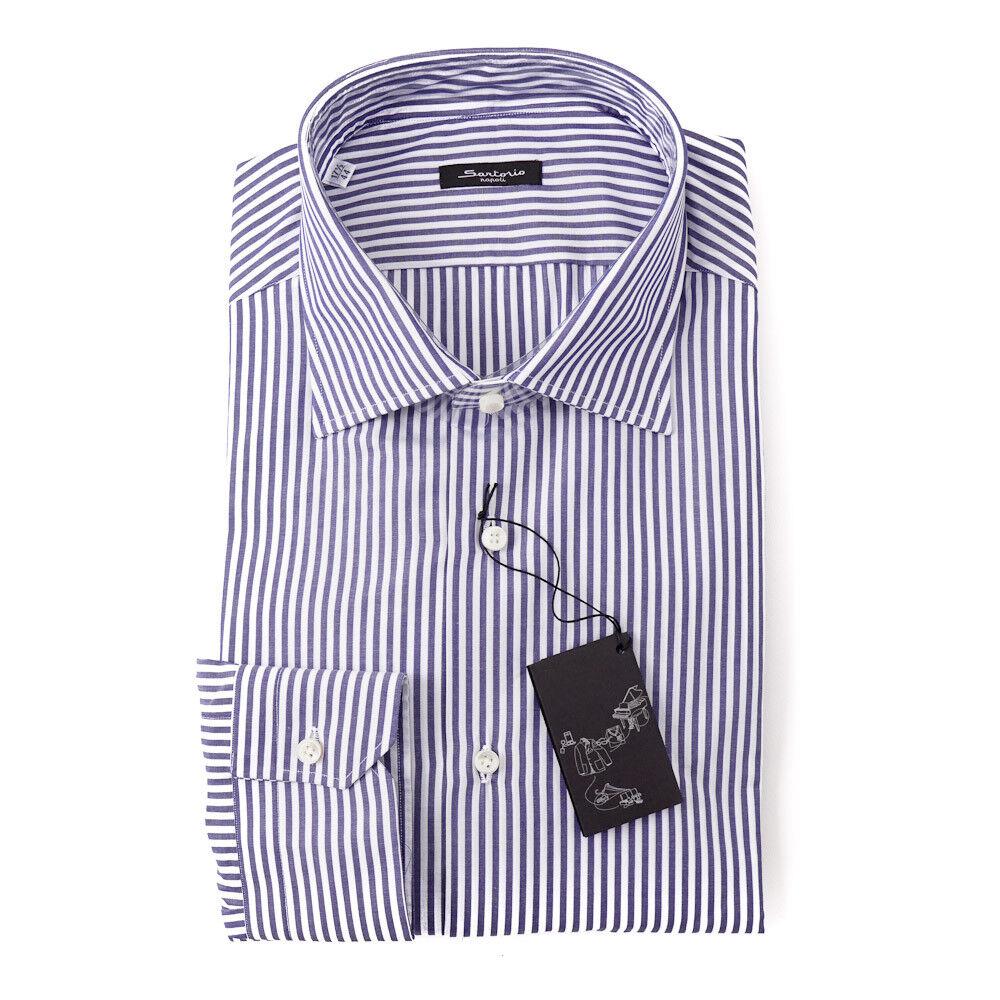 NWT  SARTORIO NAPOLI Navy bluee Bengal Stripe Cotton Dress Shirt 15.75 x 36