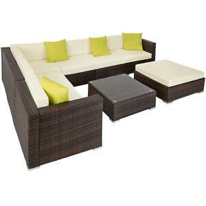 Details Zu Alu Poly Rattan Sitzgruppe Lounge Rattanmobel Gartenmobel Couch Tisch Set B Ware