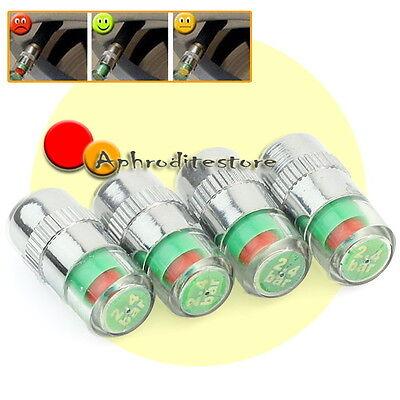 4 Tappi Coprivalvola 3 Colori Indicatore Misura Pressione Pneumatici Ruote Auto