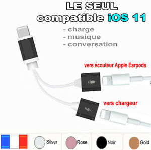 iphone 7 7 cable chargeur casque audio adaptateur charger kit pi ton ecouteur ebay. Black Bedroom Furniture Sets. Home Design Ideas