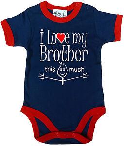GRACIOSO-Body-de-bebe-034-I-Love-My-Brother-This-Much-034-Recortado-BODY-ROPA