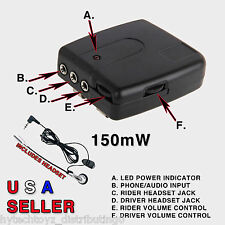 MOTORCYCLE DRIVER PASSENGER INTERCOM 150mW WIRED BASE STATION WITH HEADSET USA