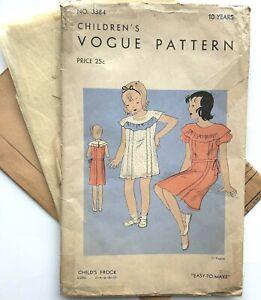 1930s vintage Vogue sewing pattern - girls childs dress frock childrens fashion