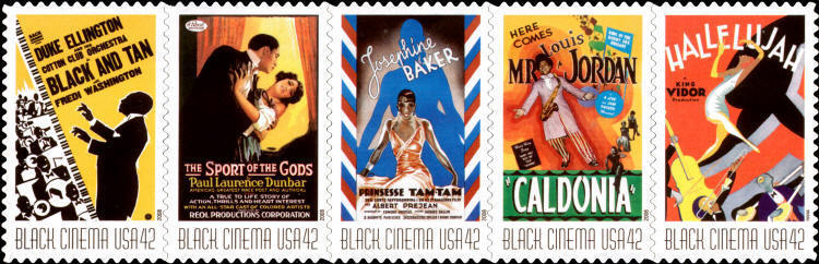 2008 42c Vintage Black Cinema, Strip of 5 Scott 4336-40