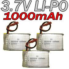 LOT 3 ACCU BATTERIE LI-PO DS 3.7V 1000Mah PCM 120103 LIPO BATTERY + CONNECTEUR