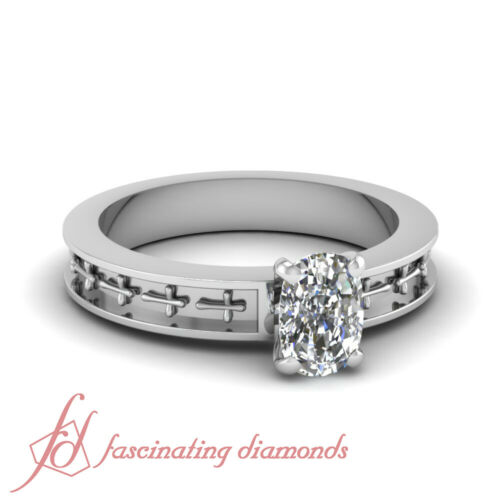 .50 Ct Cushion Cut VVS2 Diamond Solitaire Hand Engraved Design Engagement Ring