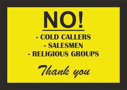 no cold callers salesmen sticker vinyl car taxi door cafe macbook self adhesive