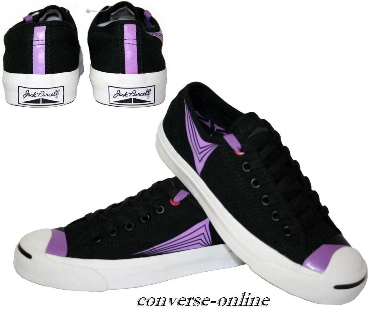 Femme homme CONVERSE ALL STAR JACK PURCELL NOIR VIOLET Baskets Chaussures Taille UK 5