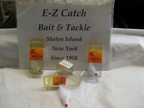 Mustad Size 1//0 White Bucktail Treble Hooks # 3551 open Straight Eye 3-Pack