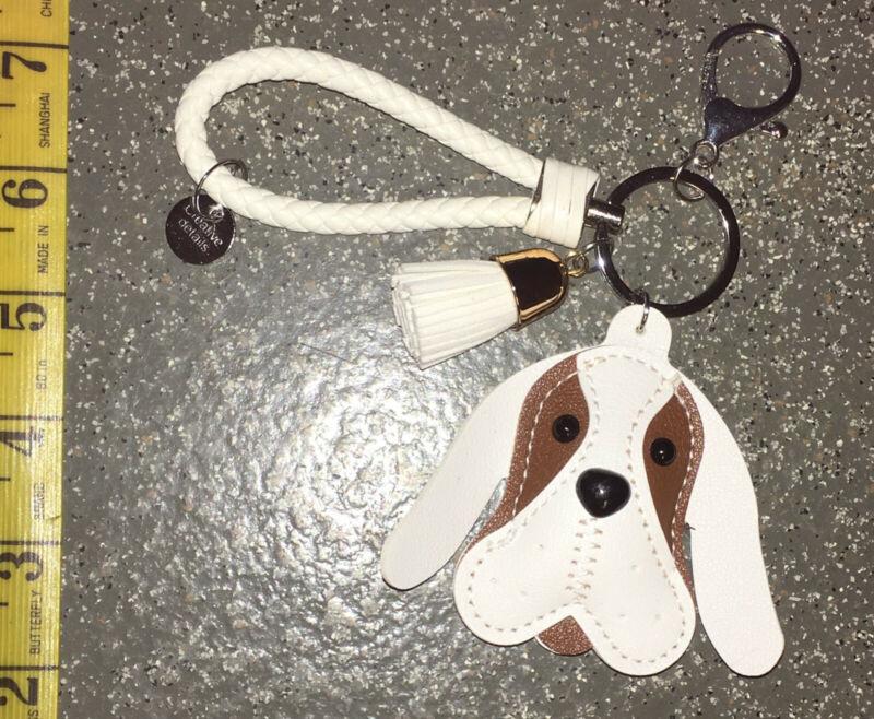 Beautiful New Cute Puffy Puppy Dog Handbag Fob Charm Key Chain Ring Faux Leather White&tan