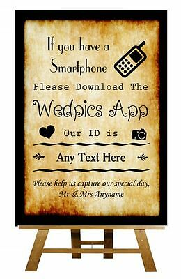 Chalkboard Wedpics App Vintage Personalised Wedding Sign Poster
