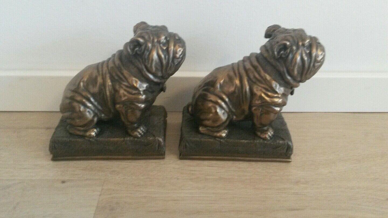 Buchstützen  Veronese   Bulldogge Bronze finish 2er Set 15 cm