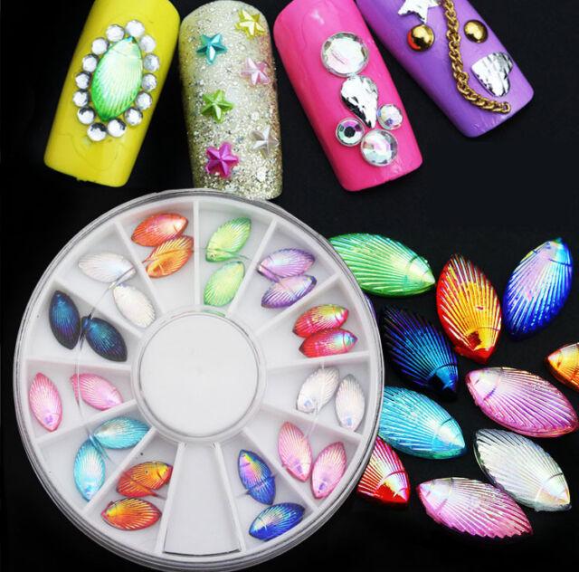 New 3D Rainbow Shell Beads 24 Pcs Nail Art Decor Phone DIY Craft with Wheel