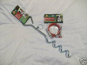 CAMPING CARAVAN TENT EQUIPMENT PET DOG Tie Out STAKE Anchor Tether and LEAD New