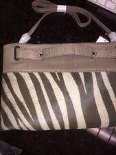 NWT Remi & Emmy Leather Wristlet Clutch Crossbody Zebra Bag-iPad Tablet Size
