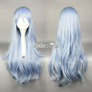 Light-Blue-Mixed-White-Collection-75cm-Halloween-Anime-Cosplay-Hair-Wig-Cap