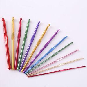 Aluminio-Ganchos-de-ganchillo-agujas-de-tejer-12-Piezas-Set-Multi-Color-Tejido-Artesanal-Hilados