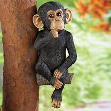 """The Thinking Monkey"" On A Tree Branch Outdoor Garden Yard Tree Hugger Statue"