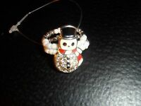 Snowman Ring Stretch To Fit Beaded Rhinestone Silver White Pre-teen- Women