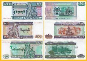 Myanmar-Set-200-500-1000-Kyats-p-78-79-80-ND-2004-2012-UNC-Banknotes