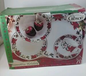 Christmas Gift Set Fine China POINSETTIA HOLIDAY 20 Pc GIBSON  Dinnerware Set