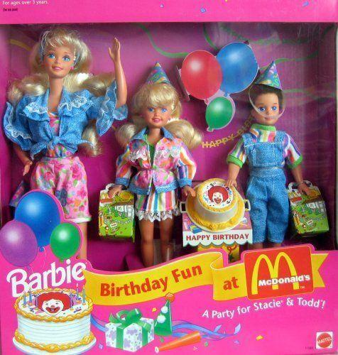 Barbie Cumpleaños Diversión a McDonalds una Fiesta Para Stacie y Todd Regalo Menta 1993 nunca quitado de la caja