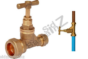 25mm x 15mm Stopcock Brass for Blue MDPE Water Main to Copper with Pipe Liner
