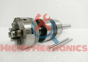 2MT Shank Revolving Live Center M12 x 1 with 50 mm 4 Jaws Self Centering Chuck