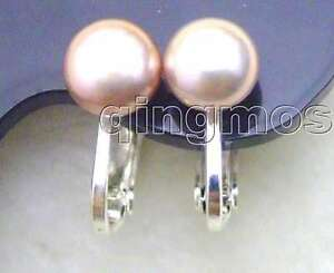 Image Is Loading 8mm Natural Purple Flat Pearl Clip On