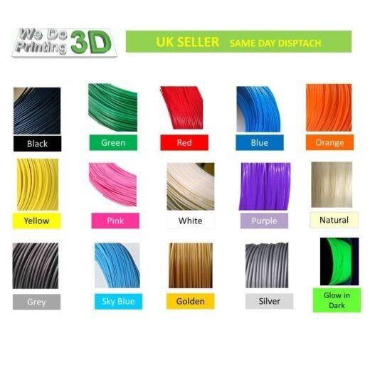 3D Printer Filament PLA 1.75mm, 20+ Colours - 100m 50m 20m 10m Lengths - Reprap