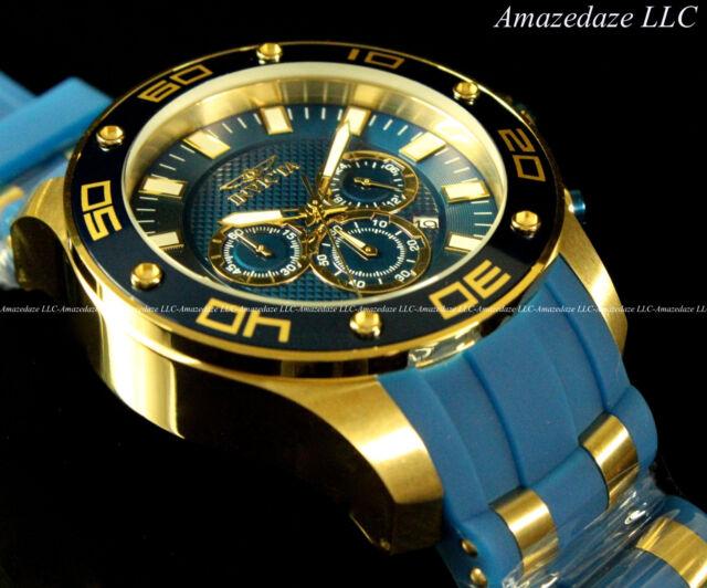 NEW Invicta Men's 50mm Pro Diver Scuba VD53 Chronograph Blue Strap 100M Watch !!