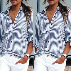 def0557ff7b Women Girl Blue Striped Casual Top Shirts Work T-shirt Blouse ...