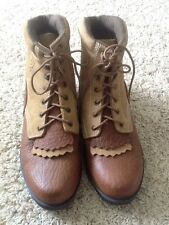VTG Roper Leather Lace Up Boots Womans 8 M  Brown Cowboy Work Ankle