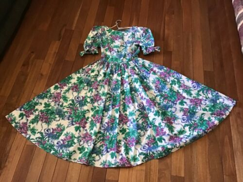 VTG 1980s Vivid Floral Tea Dress Backless w Big B… - image 1