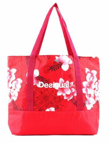 Desigual Hindi Dancer Shopping Bag Shopper Tasche Poppy Coral Rot Weiß