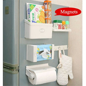 5Pcs-Magnetic-Fridge-Side-Shelf-Rack-Storage-Organizer-Holder-Tissue-Box-set