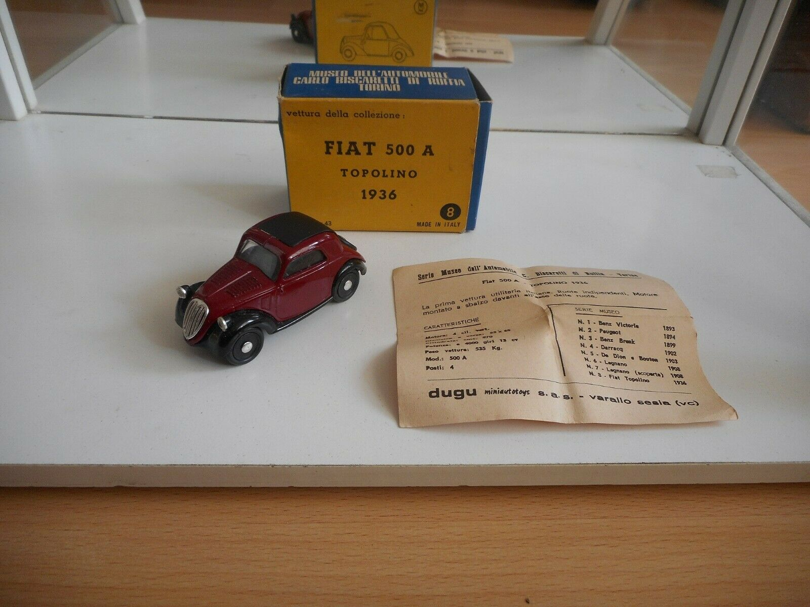 Dugu Fiat 500 A Topolino 1936 in Red on 1 43 in Box