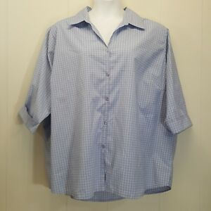 51bc05f1007ff6 NorthCrest 4X Shirt Top Blouse Button Down Front Blue Plaid Career ...