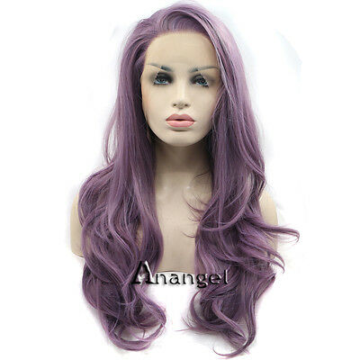 Purple Lace Front Wig Synthetic Hair Long Nature Wavy Wigs for Woman Party Dress