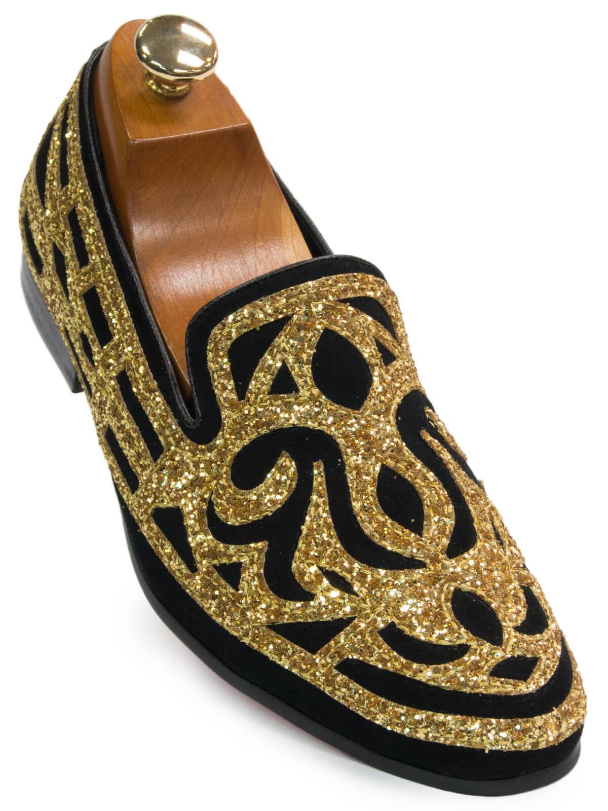prezzo basso Fiesso Uomo oro nero Ornate Ornate Ornate Glitter Pattern Dress Party Trendy Loafer Shoe  risparmia fino al 70%