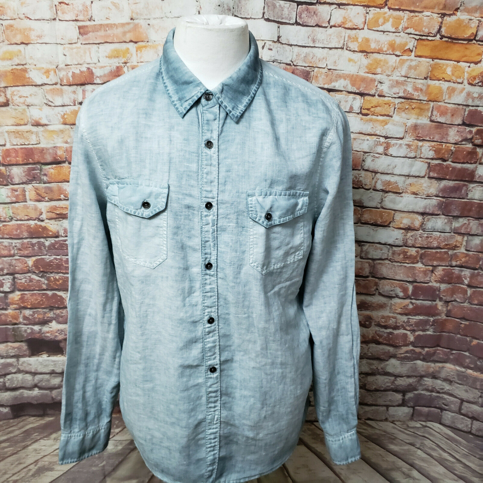 GUESS MEN'S ACID WASHED DISTRESSED SLIM FIT LONG SLEEVE SHIRT SIZE L A88-28