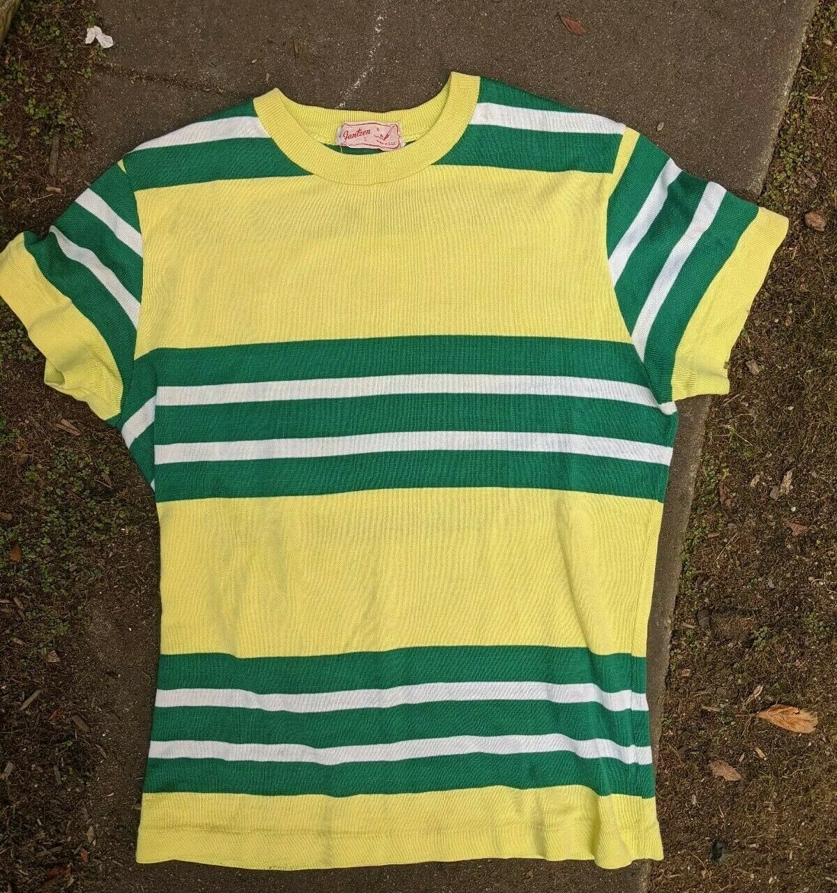 Vtg 50's Stripe Athletic Gym Shirt Jantzen t-shir… - image 2