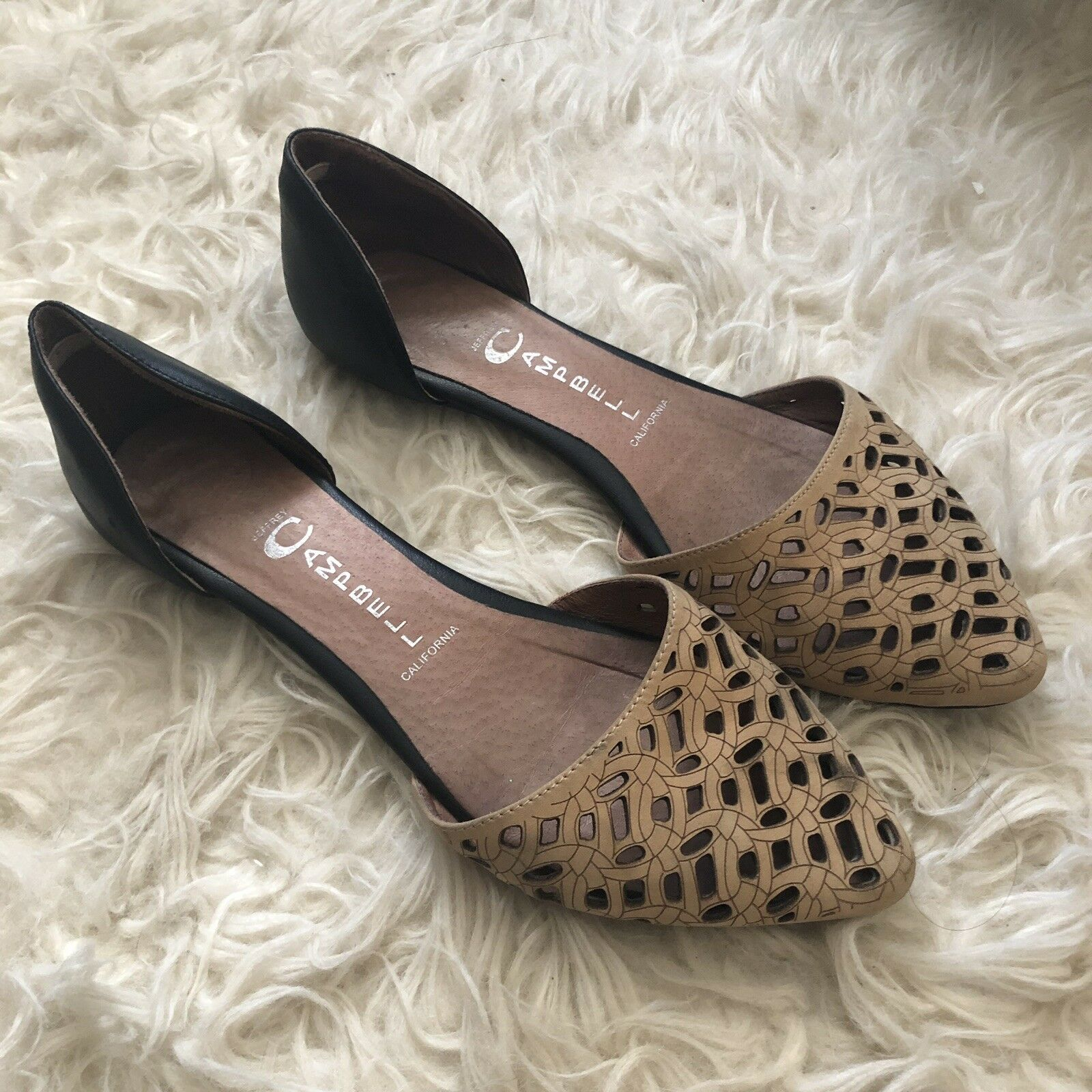 WOMENS Jeffrey Campbell Black and Tan Laser Cut D'Orsay Flats SIZE 7.5