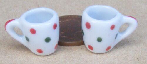 1:12 SCALA 2 Bianco TAZZE in Ceramica affusolato spot motivo Casa delle Bambole Accessorio W108s