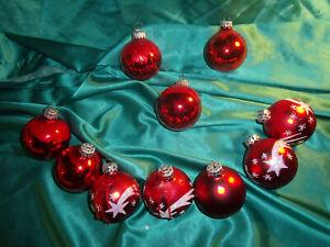 10-alte-Christbaumkugeln-Glas-rot-weiss-Sterne-Vintage-Weihnachtskugeln-CBS